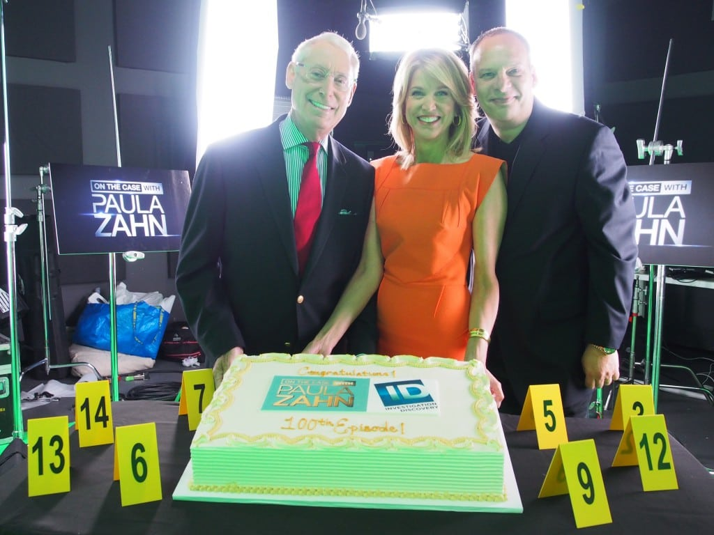 "Henry Schleiff, Paula Zahn and Weinberger celebrating the 100th episode of ""On the Case with Paula Zahn."""